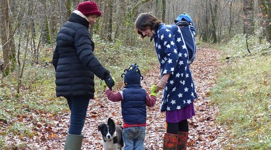 Family walk in the woods behind the gite